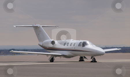 Corporate Jet stock photo, Color image of a corporate jet. by Michael Rice