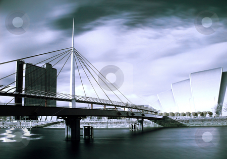 Modern architecture in Glasgow Scotland stock photo, Infrared picture of the Bell bridge and Armadillo SECC on the Clyde river in Glasgow by Laurent Dambies