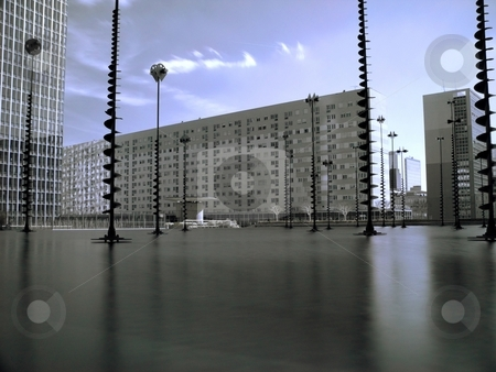 Infrared cityscape stock photo, Cityscape in infrared with a pool of water in background by Laurent Dambies