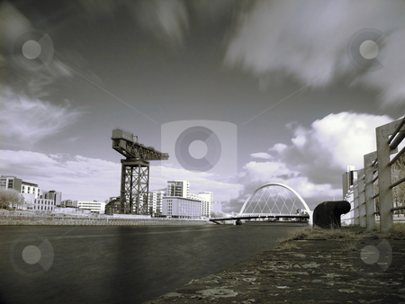 Glasgow clyde river stock photo, Infrared picture of Glasgow clyde river with Finnieston crane and bridge by Laurent Dambies