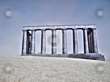 National monument in Edinburgh Scotland stock photo, Infrared picture of national monument on Calton hill in Edinburgh Scotland by Laurent Dambies