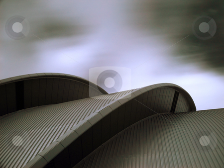 Modern architecture in infrared stock photo, Details of roof of the Armadillo  SECC Glasgow with clouds in motion by Laurent Dambies