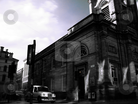 Glasgow urban scene stock photo, Infrared picture of a glaswegian  urban scene with cab stopped at traffic light by Laurent Dambies