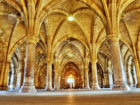 Cloister stock photo, Glasgow university cloister arches HDR processed by Laurent Dambies