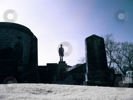 Old Calton cemetery in Edinburgh Scotland infrared picture stock photo, Infrared picture of Abraham Lincoln at Old Calton Cemetery in Edinburgh by Laurent Dambies
