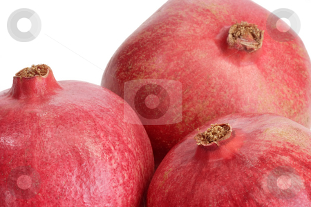 Three pomegranates stock photo, Fresh pomegranate on white background by Birgit Reitz-Hofmann