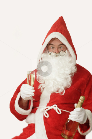 Drunken Santa stock photo, Male caucasian model of santa claus - isolated on white background by Birgit Reitz-Hofmann