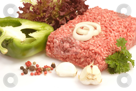 Meatloaf stock photo, Raw mincemeat in detail on bright background by Birgit Reitz-Hofmann
