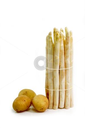 Organic food stock photo, Fresh asparagus and potatoes on bright backgground by Birgit Reitz-Hofmann