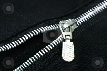 Zipper stock photo, The zipper of a black trouser on a black background by Birgit Reitz-Hofmann