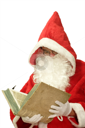 Santa with Old Book stock photo, Male caucasian model of santa claus - isolated on white background by Birgit Reitz-Hofmann