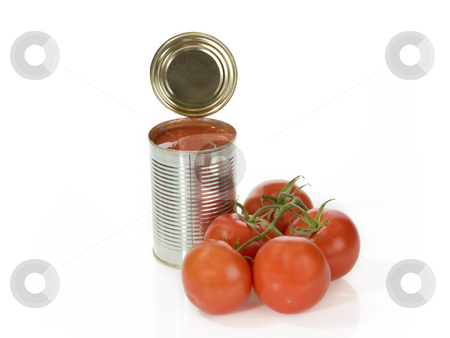 Canned tomatoes stock photo, Can of peeled tomatoes on bright background by Birgit Reitz-Hofmann