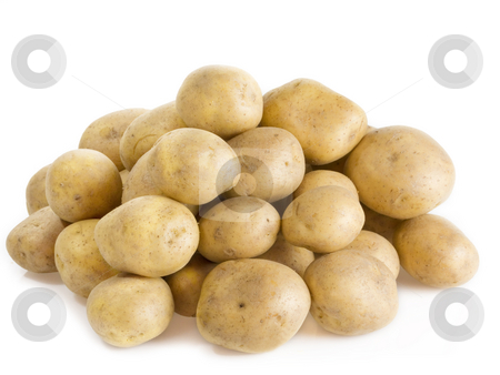 Potatoes stock photo, Stack of fresh potatoes on bright background by Birgit Reitz-Hofmann