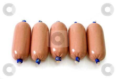 Sausage stock photo, Little pork sausage on bright background by Birgit Reitz-Hofmann