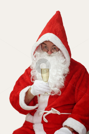 Cheers stock photo, Male caucasian model of santa claus - isolated on white background by Birgit Reitz-Hofmann