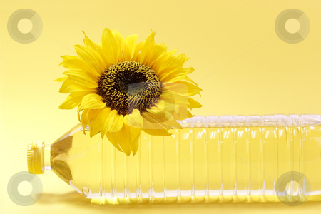 Oil bottle stock photo, Sunflower with cooking oil bottle on yellow background by Birgit Reitz-Hofmann