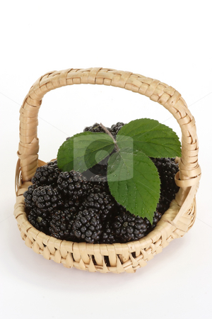 In basket stock photo, Fresh blackberries in a basket on bright background by Birgit Reitz-Hofmann