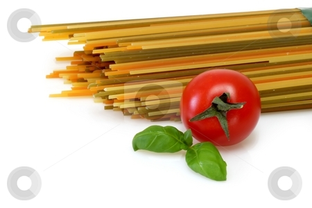 Spaghetti stock photo, Raw pasta on bright background. Shot in Studio. by Birgit Reitz-Hofmann