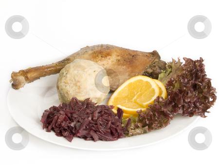 Roasted poultry stock photo, Roasted goose leg on bright background by Birgit Reitz-Hofmann