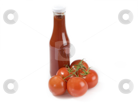 Tomato ketchup stock photo, Tomato ingredients on white background by Birgit Reitz-Hofmann