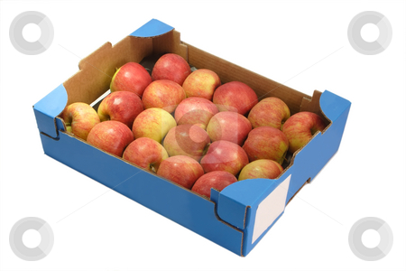 Fresh apples_1 stock photo, Apples in a cardboard box isolated on white background by Birgit Reitz-Hofmann