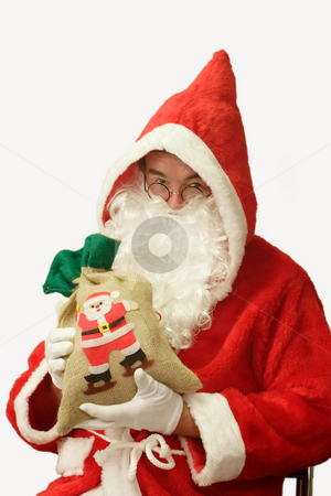 Gifts stock photo, Male caucasian model of santa claus - isolated on white background by Birgit Reitz-Hofmann