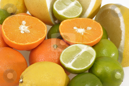 Sliced and fresh stock photo, Colorful fresh and  healthy fruits on bright background by Birgit Reitz-Hofmann