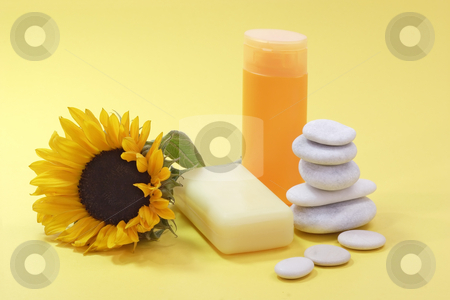 Body care_1 stock photo, Bath lotion and a sunflower on yellow background by Birgit Reitz-Hofmann