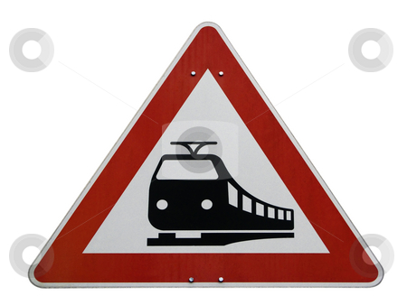 Railroad sign stock photo, European rail road caution sign isolated on white background by Birgit Reitz-Hofmann