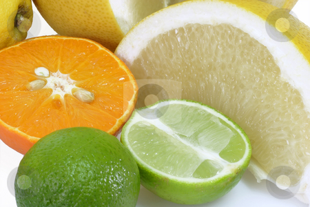 Fresh lime stock photo, Colorful fresh and  healthy fruits on bright background by Birgit Reitz-Hofmann