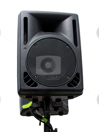 Isolated speaker stock photo, Outdoor public loudspeakers isolated on white background by Birgit Reitz-Hofmann