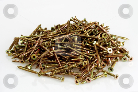 Metal screws stock photo, A pile screws on bright background by Birgit Reitz-Hofmann