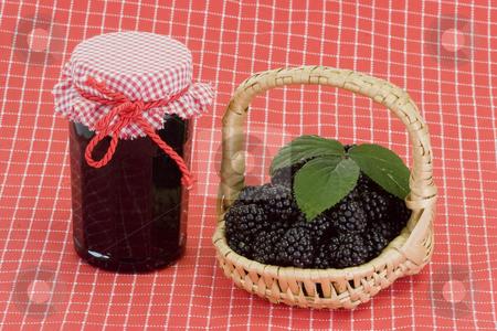 Breakfast stock photo, Blackberry marmalade on bright background by Birgit Reitz-Hofmann