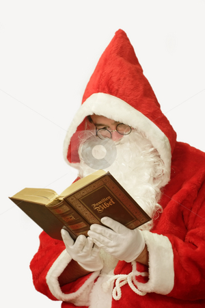Santa with Bible stock photo, Male caucasian model of santa claus - isolated on white background by Birgit Reitz-Hofmann