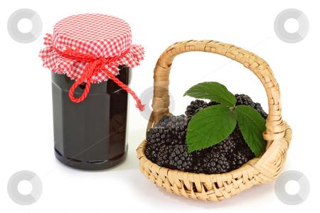 Blackberry marmalade stock photo, Blackberry marmalade on bright background by Birgit Reitz-Hofmann