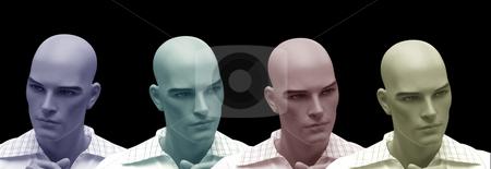 Differeint opinion stock photo, Collage from a dummy head on  black background by Birgit Reitz-Hofmann