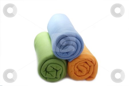 Colourful blankets stock photo, Soft and warm blanket on bright background by Birgit Reitz-Hofmann