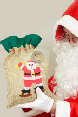 Santa claus stock photo, Male caucasian model of santa claus on grey background by Birgit Reitz-Hofmann