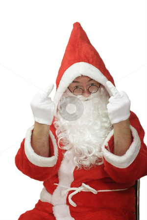 Flipping Off stock photo, Male caucasian model of santa claus - isolated on white background by Birgit Reitz-Hofmann