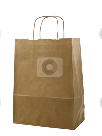 Brown paper bag stock photo, Brown paper bag on white background by Birgit Reitz-Hofmann