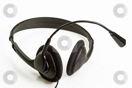 Headset stock photo, A computer headset on bright background. by Birgit Reitz-Hofmann