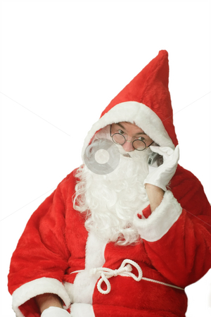 Santa with Cellphone stock photo, Male caucasian model of santa claus calling on a cellphone - isolated on white background by Birgit Reitz-Hofmann