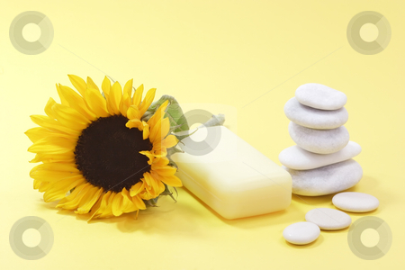 Bar of soap stock photo, Bar of soap and a sunflower on yellow background by Birgit Reitz-Hofmann