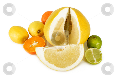 Sliced pomelo stock photo, Colorful fresh and  healthy fruits on bright background by Birgit Reitz-Hofmann