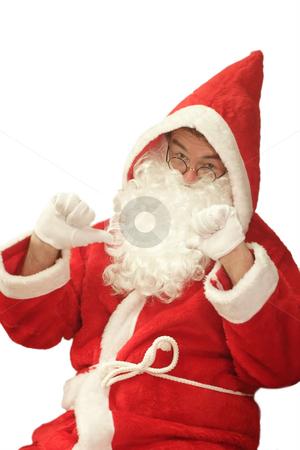 Self-confident Santa stock photo, Male caucasian model of santa claus - isolated on white background by Birgit Reitz-Hofmann