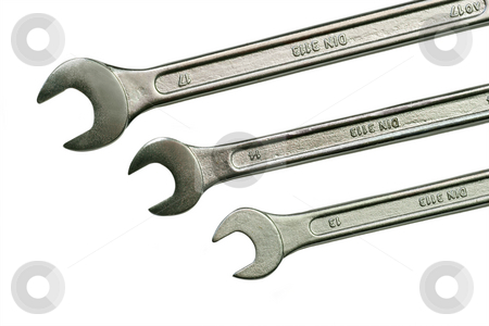 Three spanner stock photo, Spanner isolated on white background by Birgit Reitz-Hofmann