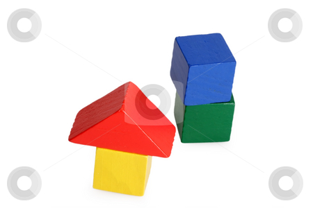 Toy Bricks stock photo, Wooden toy bricks isolated on white background by Birgit Reitz-Hofmann