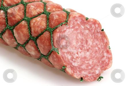 Salami stock photo, Piece of salami. White background. by Birgit Reitz-Hofmann