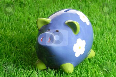 Piggy bank stock photo, Decorativ piggy bank on green grass background by Birgit Reitz-Hofmann