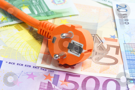 Electric plug stock photo, Electric power line with Euro banknotes in background by Birgit Reitz-Hofmann